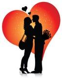 Los pares siluetean con los corazones stock de ilustración