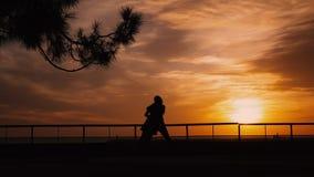 Los pares siluetean en la salida del sol de la playa almacen de video