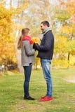 Los pares sonrientes con el manojo de hojas en otoño parquean Imagen de archivo