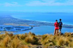 Los pares turísticos miran la opinión del paisaje de Christchurch - nuevo fotografía de archivo libre de regalías