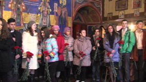 Los participantes del culto de oración en memoria del caido en la guerra Ruso-turca almacen de metraje de vídeo