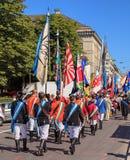 Los participantes del día nacional suizo desfilan en Zurich Fotografía de archivo libre de regalías