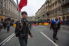 Los partidarios de la oposición gritan durante una protesta delante de la ceremonia de la inauguración del ` s de presidente Vlad Fotos de archivo libres de regalías