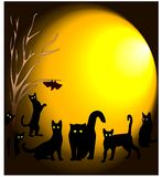 Los paseos de gato negro en la noche con el vuelo de la luna enredan stock de ilustración