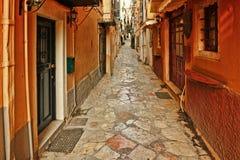 Los pasillos en Corfú, Grecia Foto de archivo libre de regalías