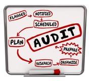 Los pasos de la auditoría preparan plan organizan consiguen la contabilidad lista me revisan ilustración del vector