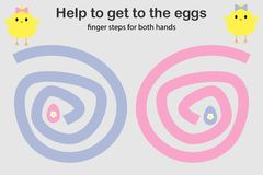 Los pasos del finger para ambos mano, ayudan a los polluelos a conseguir a los huevos, desarrollo simultáneo de los hemisferios c ilustración del vector