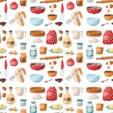 Los pasteles de la hornada preparan cocinar el fondo inconsútil del modelo de comida de los utensilios de la cocina de los ingred libre illustration