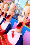 Los payasos del carnaval del papel secundario con las bocas abren listo para el juego Fotos de archivo libres de regalías