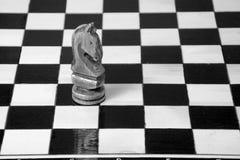Los pedazos de ajedrez se ponen en el tablero de ajedrez Imagen de archivo