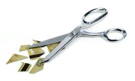 Los pedazos de la tarjeta de crédito y Scissor Fotografía de archivo