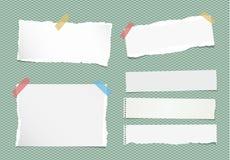 Los pedazos de nota blanca rasgada, cuaderno, hojas de papel del cuaderno se pegaron con la cinta pegajosa colorida en fondo verd Fotografía de archivo