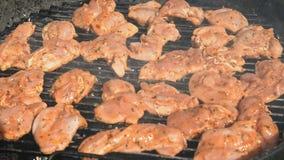 Los pedazos de pollo en la preparación en el carbón de leña asan a la parrilla afuera almacen de metraje de vídeo