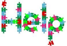 Los pedazos del rompecabezas de rompecabezas encuentran respuesta de la AYUDA en sombra Imagenes de archivo