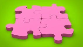 Los pedazos rosados del rompecabezas del caramelo fijaron juntos en fondo verde Imagen de archivo libre de regalías