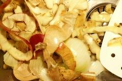 Los pedazos vegetales mienten en la parte inferior de un fregadero imagen de archivo libre de regalías