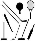 Los pedazos y el palillo a la silueta negra de los deportes vector i Foto de archivo libre de regalías