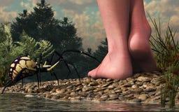 Los peligros de caminar descalzo stock de ilustración