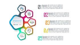Los pentágonos etiquetan infographic con 5 pasos libre illustration