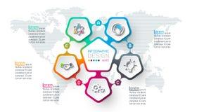 Los pentágonos etiquetan infographic con 5 pasos stock de ilustración