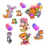 Los pequeños animales felices con los globos coloreados Imágenes de archivo libres de regalías