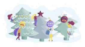 Los pequeños caracteres de la muchacha adornan el árbol de navidad Ejemplo plano del vector del estilo libre illustration