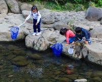 Los pequeños estudiantes recogen la basura del rive Fotografía de archivo libre de regalías