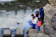 Los pequeños estudiantes recogen la basura del rive Imagen de archivo