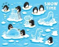 Los pequeños pingüinos lindos crean las estatuas del hielo en las masas de hielo flotante de hielo Ilustración del vector stock de ilustración