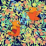 Los pequeños pájaros cantan canciones. Textura inconsútil. Imagenes de archivo