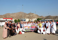 Los peregrinos agrupan en Jabal Thur fotos de archivo