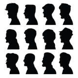 Los perfiles de los hombres con diversos peinados Imagen de archivo