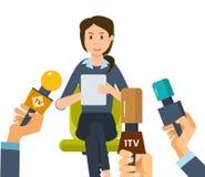 Los periodistas de los reporteros toman a entrevista un empleado de la compañía, cerca de lugar de trabajo ilustración del vector