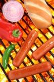 Los perritos calientes, el bollo y los veggies en una barbacoa asan a la parrilla Imágenes de archivo libres de regalías