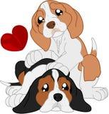 Los perros basset lindos de la historieta se son los amigos ilustración del vector