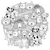 Los perros divertidos circundan el modelo de la forma para el libro de colorear stock de ilustración