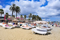 Los persona que toma el sol en la guarida Bossa de Platja varan en la ciudad de Ibiza, España Foto de archivo