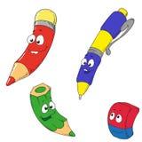 Los personajes de dibujos animados enseñan el sistema Lápiz, borrador, pluma Foto de archivo