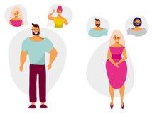 Los personajes de dibujos animados hombre y mujer piensan y sueñan con un socio libre illustration