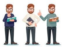 Los personajes de dibujos animados leídos elegantes de los vidrios del libro de la educación racionalista intelectual del profeso libre illustration