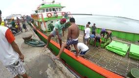 Los pescadores comerciales que acarrean la captura pescan de conservación en cámara frigorífica de la nave a bordo almacen de video
