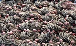 Los pescadores pescan doblado cuidadosamente, listo para utilizar Textura imagen de archivo libre de regalías
