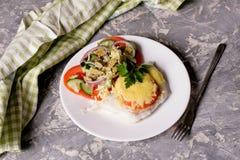 Los pescados cocieron con queso y tomates en una placa blanca Imagenes de archivo