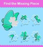 Los pescados de la historieta de los niños encuentran el rompecabezas correcto del pedazo stock de ilustración