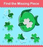 Los pescados de la historieta de los niños encuentran el rompecabezas que falta del pedazo libre illustration