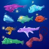 Los pescados de pescador vector el carácter despredador de los peces de mar con los dientes y el mar-pescador de la luz o de la h stock de ilustración