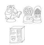 Los pescados del juguete del grado, con el colorante legendario del lomo de la máquina del caramelo para los niños stock de ilustración