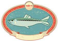 Los pescados etiquetan en vieja textura de papel.
