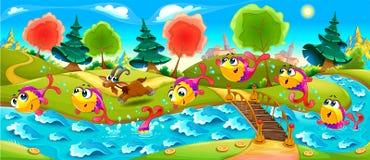 Los pescados felices están bailando en el río libre illustration