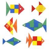 Los pescados fijados de figuras geométricas Imagenes de archivo